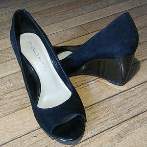 Franco Sarto black, open-toe, leather, wedge shoes